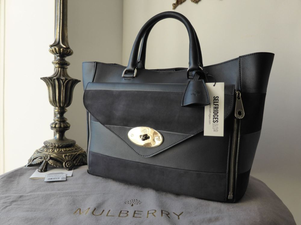 Mulberry Willow Tote (Large) in Midnight Blue Silky Calf & Nubuck Stripe -