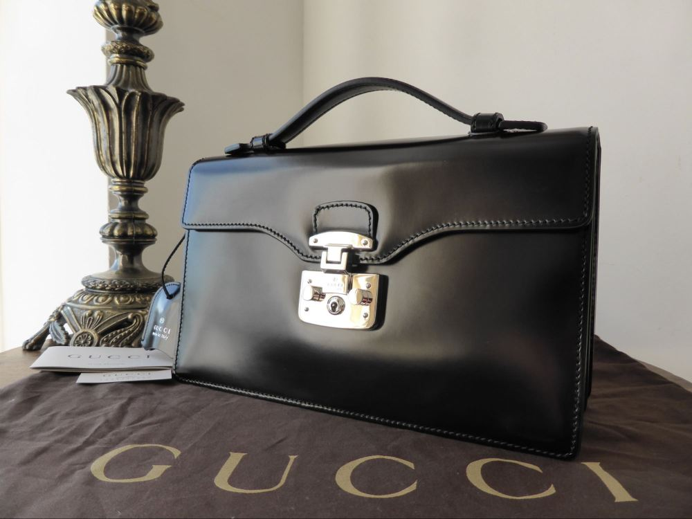 Gucci Lady Lock Top Handle Briefcase Clutch in Black - New*