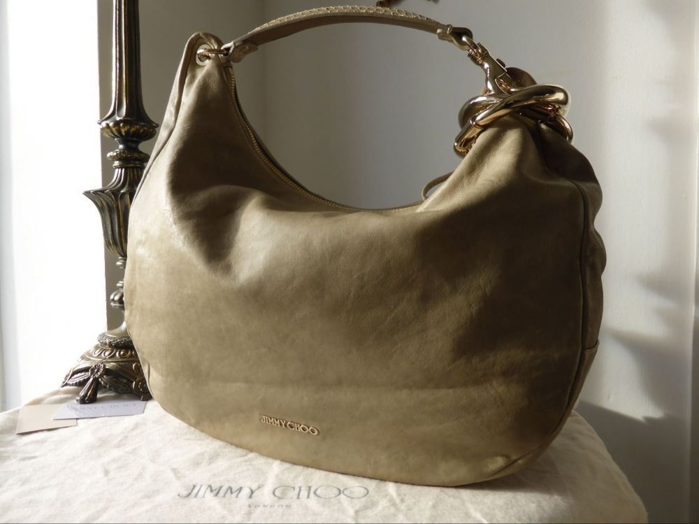Jimmy Choo Solar L Hobo in Taupe Grey Lambskin and Python Mix