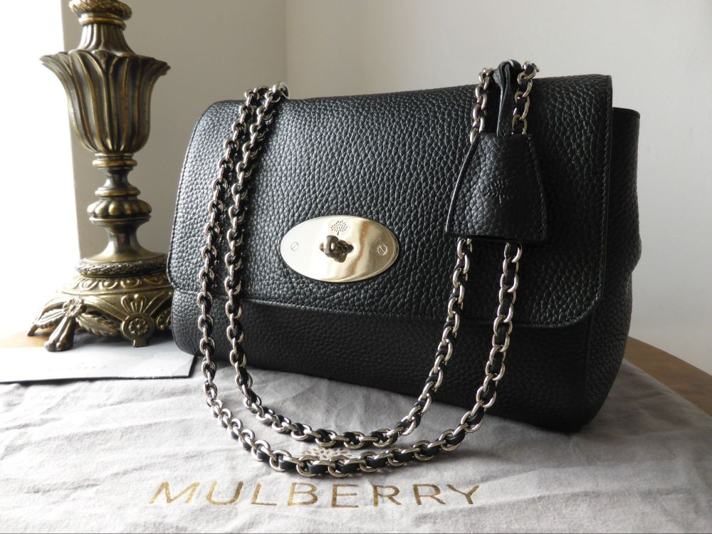 Mulberry Lily Medium in Black Soft Grain Leather with Nickel Hardware