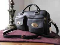 Mulberry Double Pocket Boston in Black Buffalo Shine