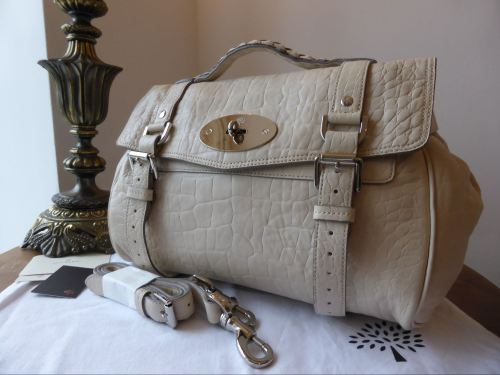 Mulberry Selfridges Limited Edition Alexa In Winter White Croc Printed Na Sold