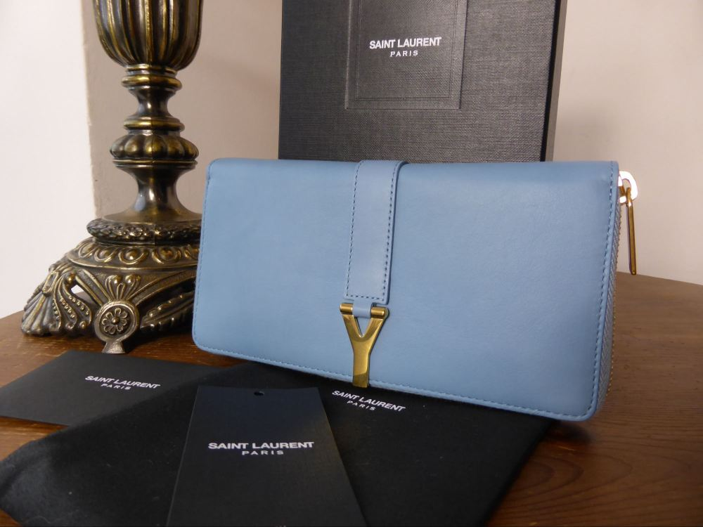 Saint Laurent Zip Around Continental Wallet in Glacier Blue