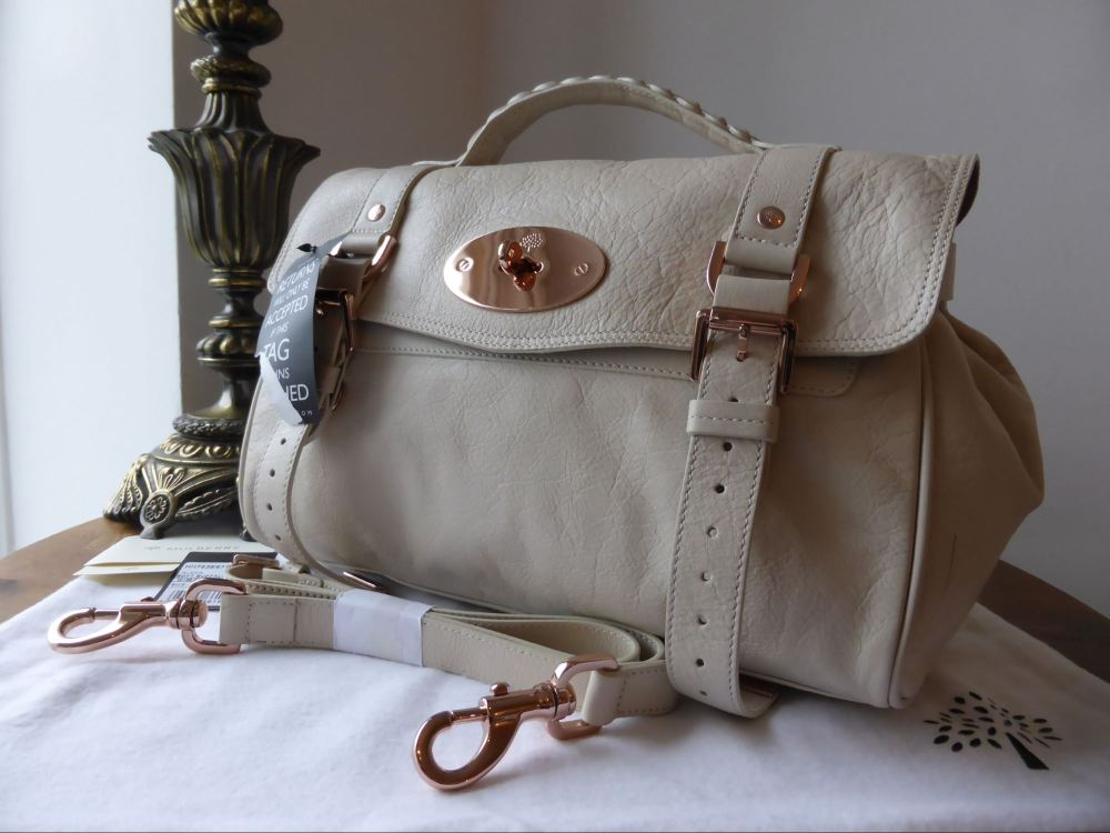 Mulberry Alexa (Regular) in Petticoat White Soft Buffalo with Rose Gold Har