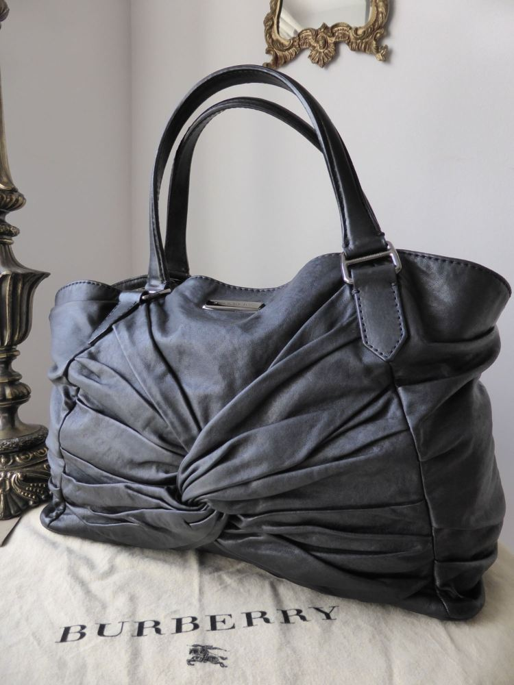 Burberry Soft Knots Healy Tote in Black Lambskin
