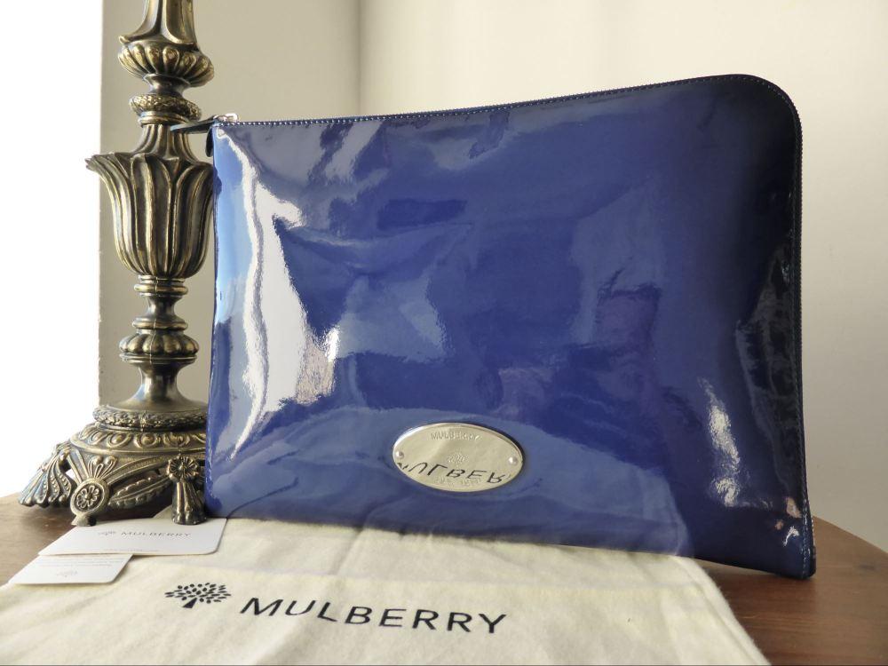 Mulberry Melanie Zip Around Folio Case in Electric Blue Drummed Patent Leat