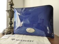 Mulberry Melanie Zip Around Folio Case in Electric Blue Drummed Patent Leather - New