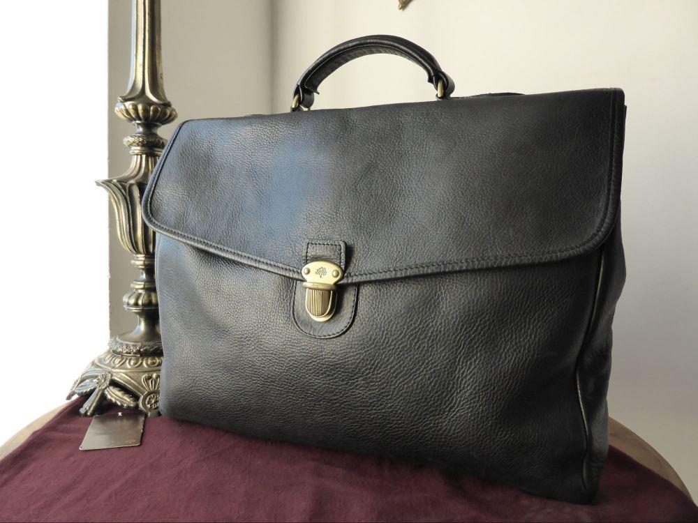 Mulberry Geoffrey Briefcase in Black Darwin Leather