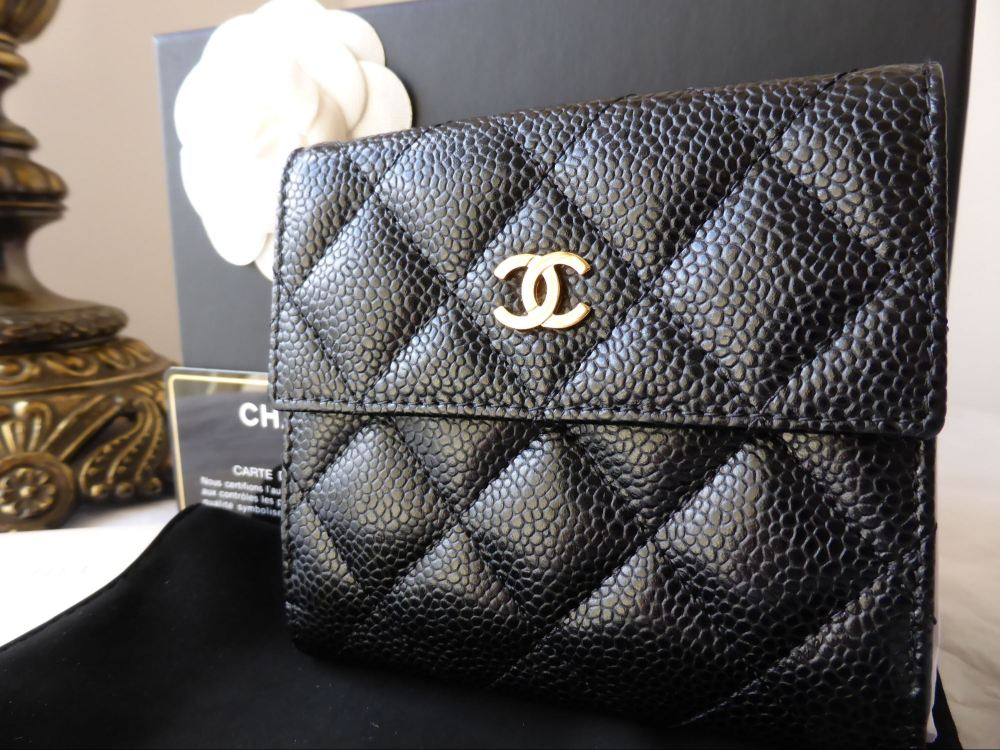Chanel Bifold Compact Wallet in Black Caviar with Gold Hardware - As New*