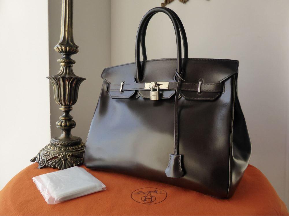 Hermés 35cm Birkin in Marron Fonce Box Leather with Brushed Palladium Hardw