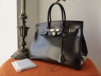 Hermés 35cm Birkin in Marron Fonce Box Leather with Brushed Palladium Hardware