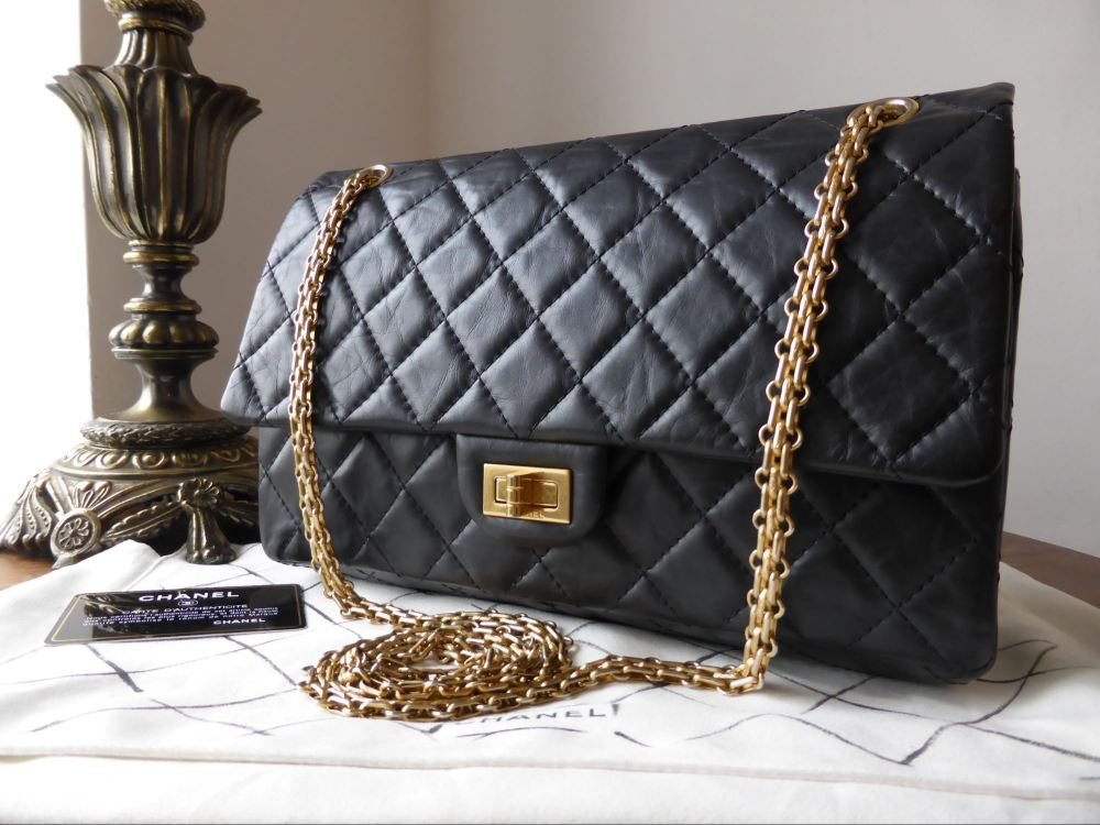 Chanel 226 Reissue Mademoiselle Flap in Black Calfskin with Gold Jewellery