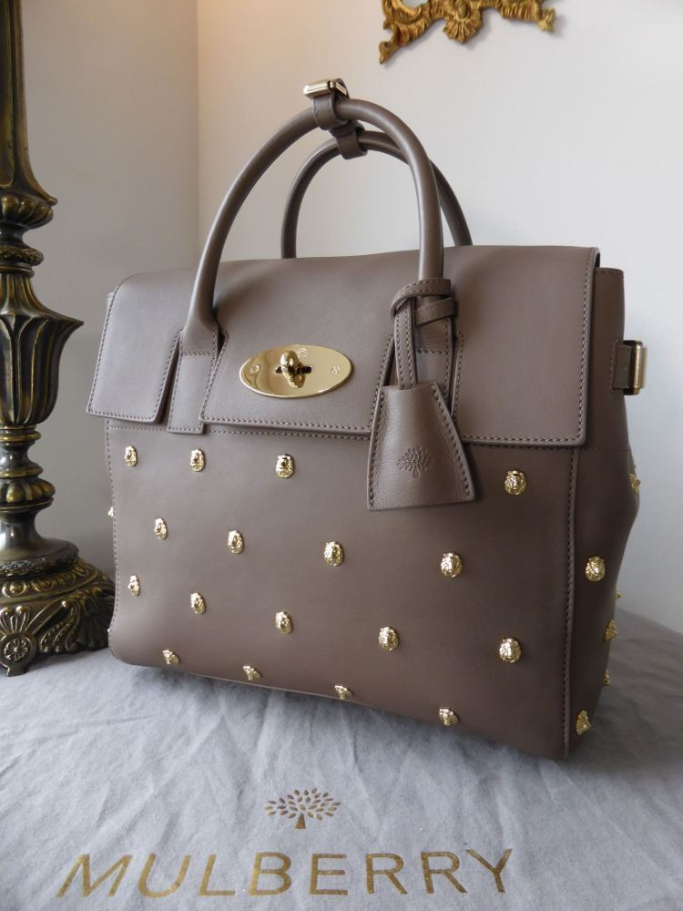 Mulberry Limited Edition Cara Delevingne (Medium) with Lion Rivets in Taupe