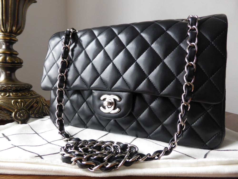 Chanel Classic 2.55 Medium Double Flap Black Lambskin with Silver Hardware