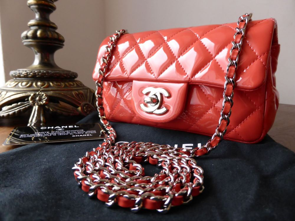 Chanel Classic Mini Flap Bag in Coral Patent with Silver Hardware