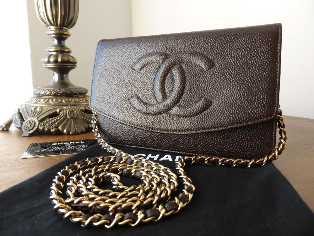 Chanel WoC Wallet on Chain in Brown Caviar with Gold Tone Hardware