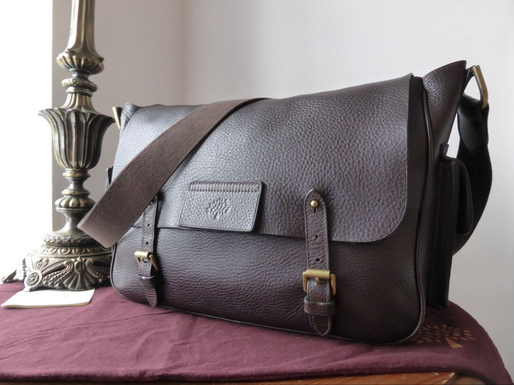 Mulberry Alfie Large Messenger in Chocolate