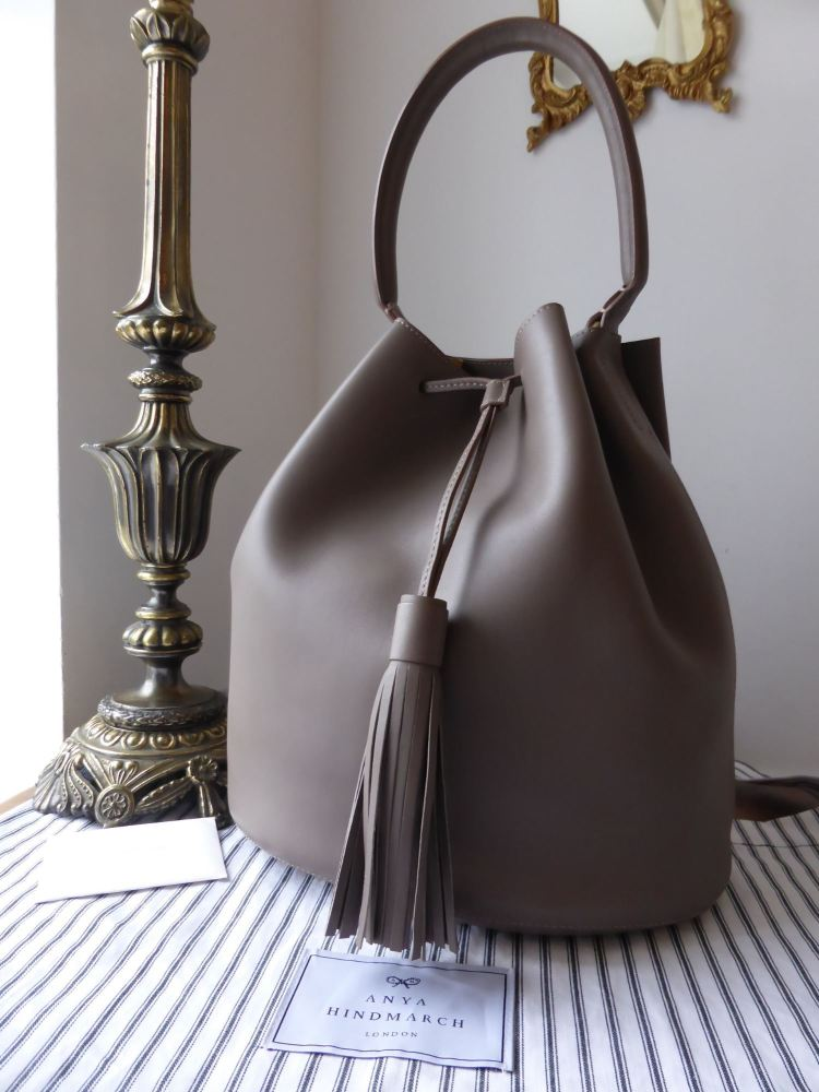 Anya Hindmarch Vaughan Medium Bucket Bag in Grey & Butter Yellow Calfskin