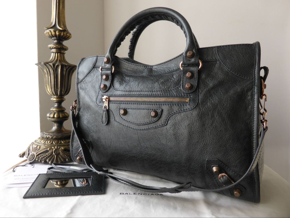 Balenciaga City in Anthracite Lambskin with Giant 12 Rose Gold Hardware