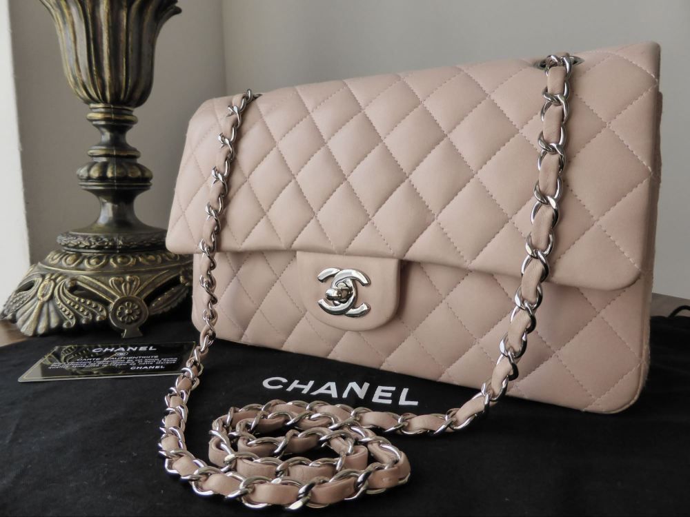 Chanel Timelss Classic 2.55 Medium Flap Bag in Nude Pink Lambskin with Silv
