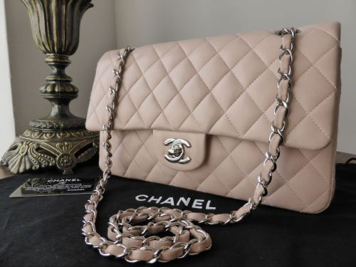 Chanel Timeless Classic 2 55 Medium Flap Bag In Pink Lambskin With Silver Hardware Sold
