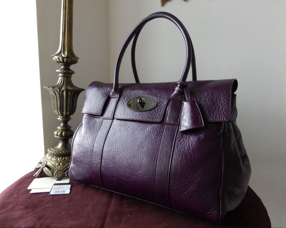 Mulberry Bayswater in Red Onion High Pebbled Patent Leather