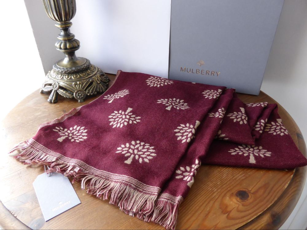 Mulberry Tree Wrap Scarf in Oxblood Extra Fine Merino Wool - New