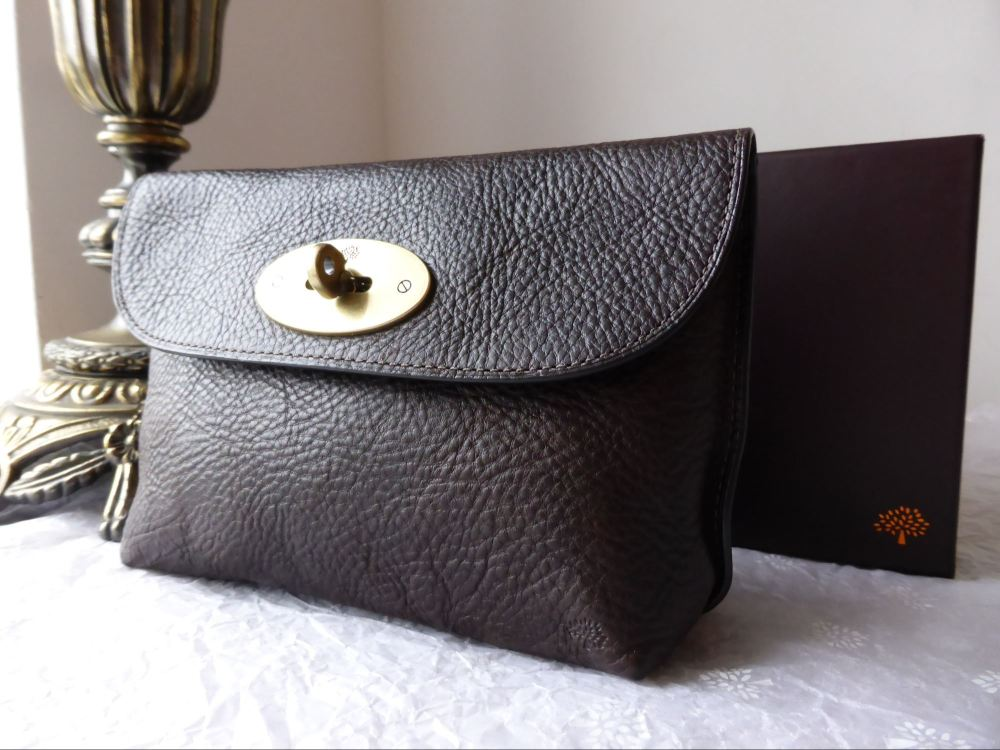 Mulberry Locked Cosmetic Pouch in Chocolate Natural Leather