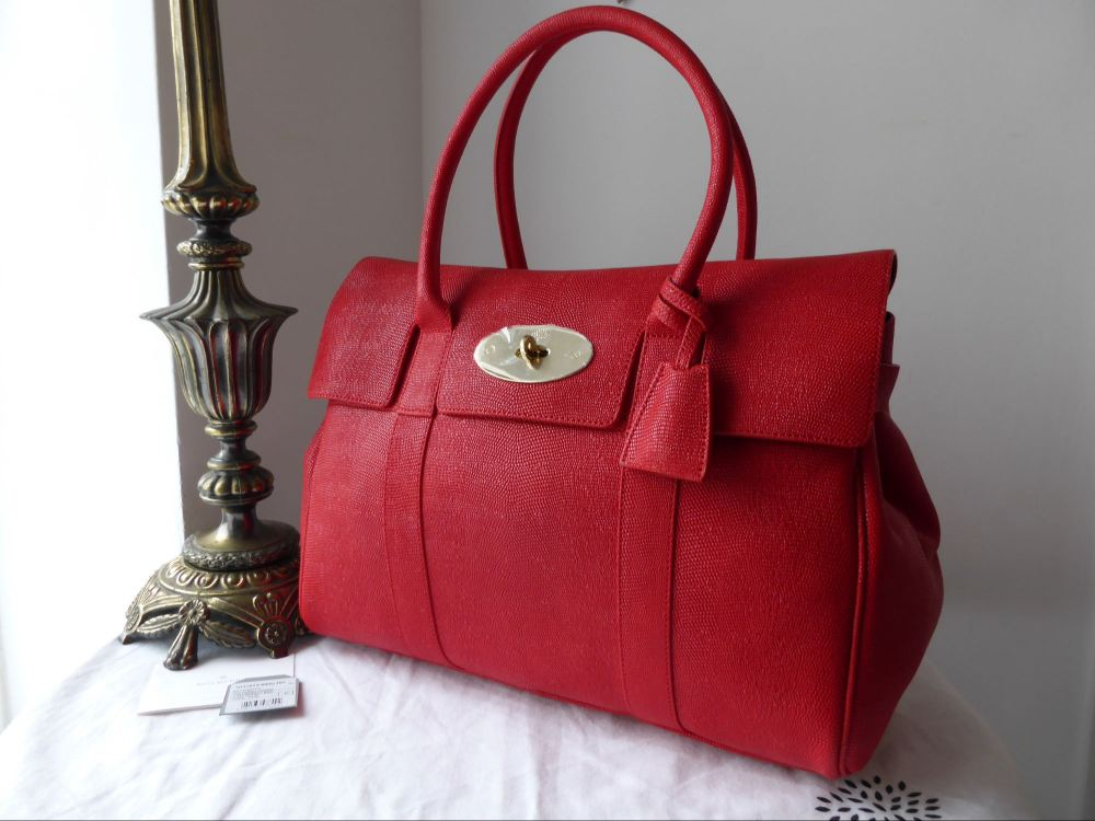 Mulberry Bayswater in Bright Red Texture Lizard Print Leather - New