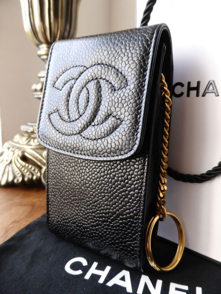 Chanel Phone Case Pouch in Black Caviar with Gold Keyring