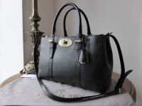 Mulberry Small Bayswater Double Zip Tote in Black Shiny Goat Leather