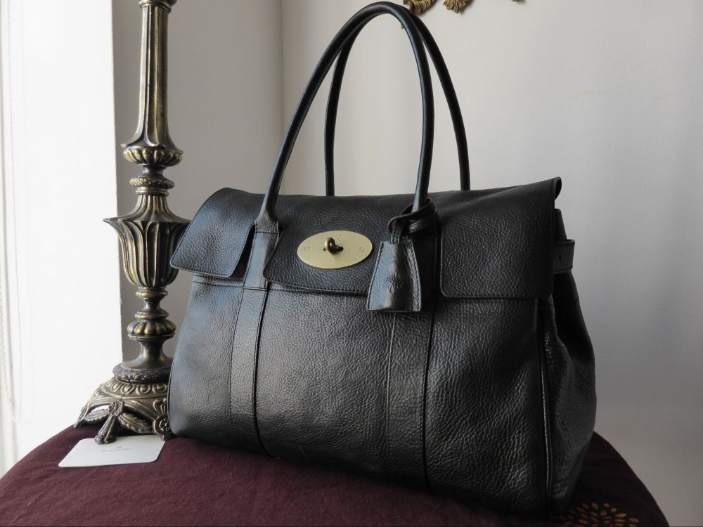 Mulberry Bayswater in Black Natural Leather with Brass Hardware