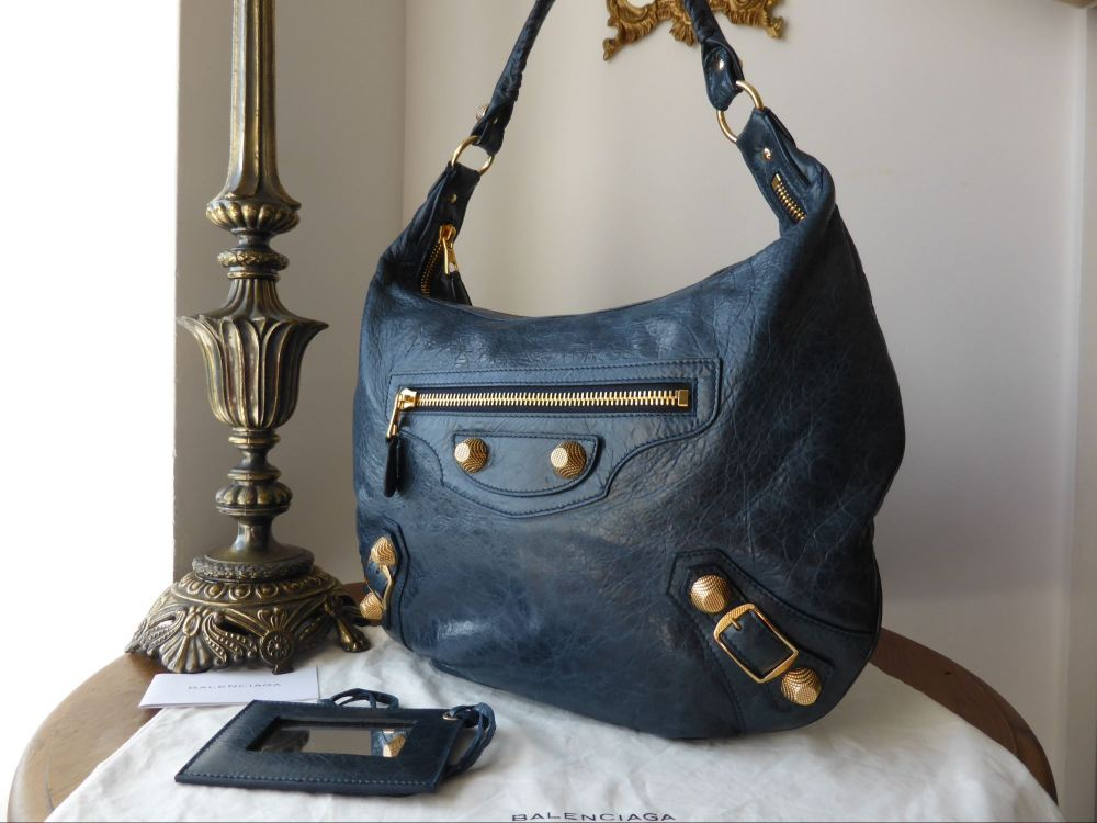 Balenciaga Hobo in Marine Blue Chevre with Giant 21 Gold Hardware