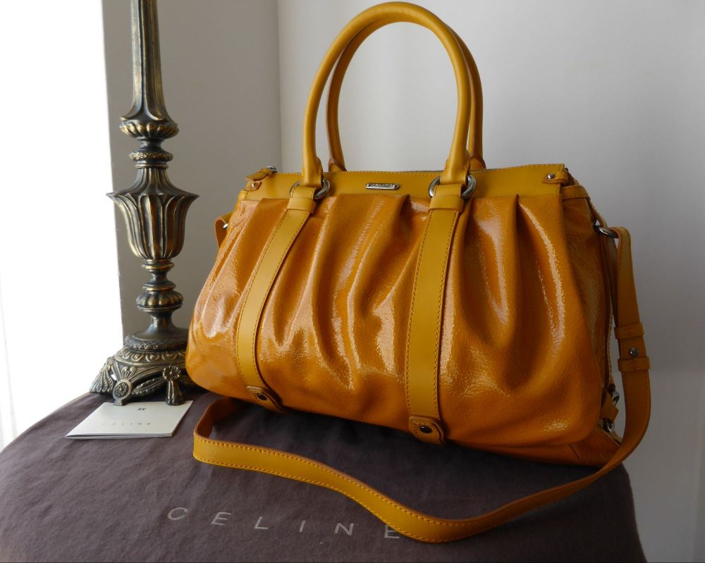 Celine Lirine Large Bauletto in Ochre Textured Patent