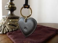 Mulberry Heart Keyring Bag Charm in Chocolate Natural Leather