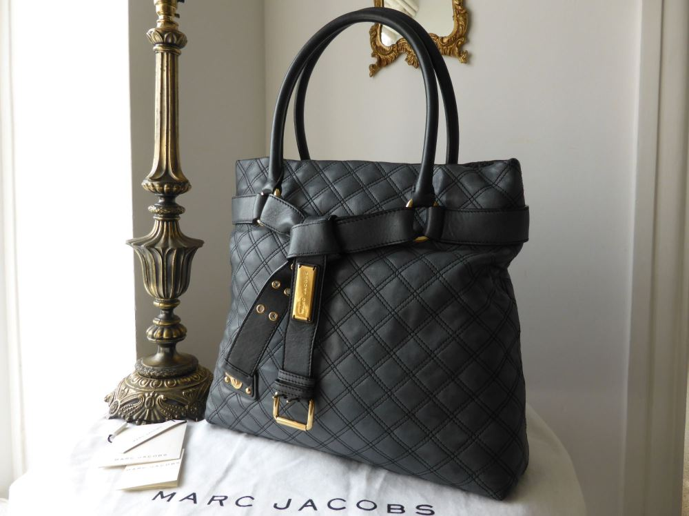 Marc Jacobs Casey Large Quilted Tote in Dark Steel Grey
