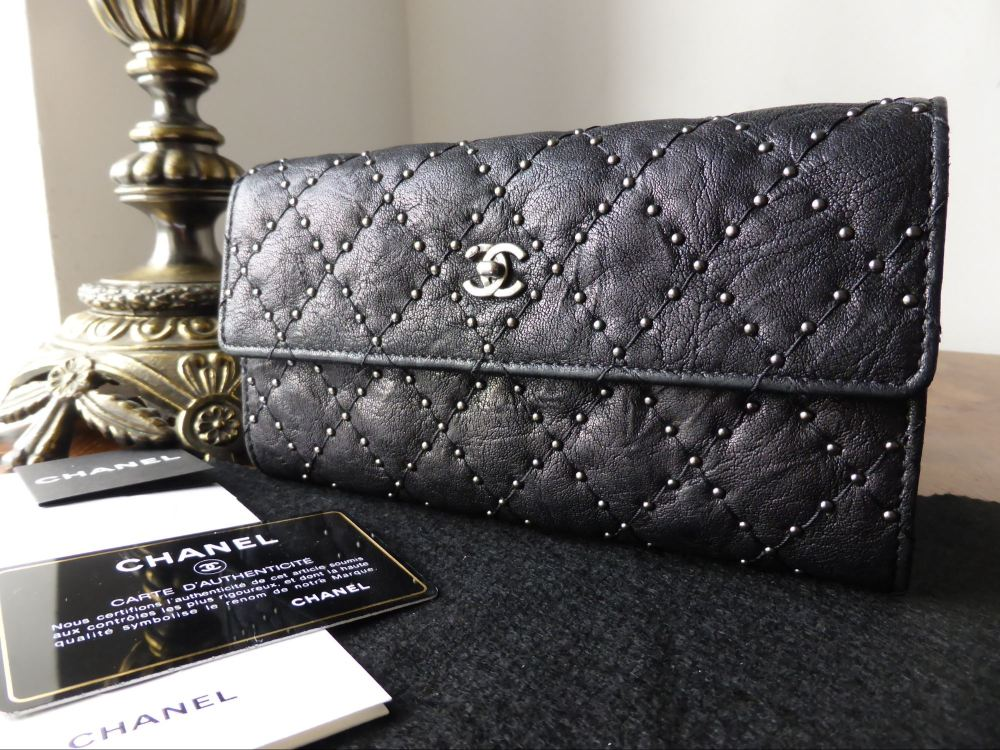 Chanel Continental Flap Wallet in Quilt Studded Black Distressed Calfskin