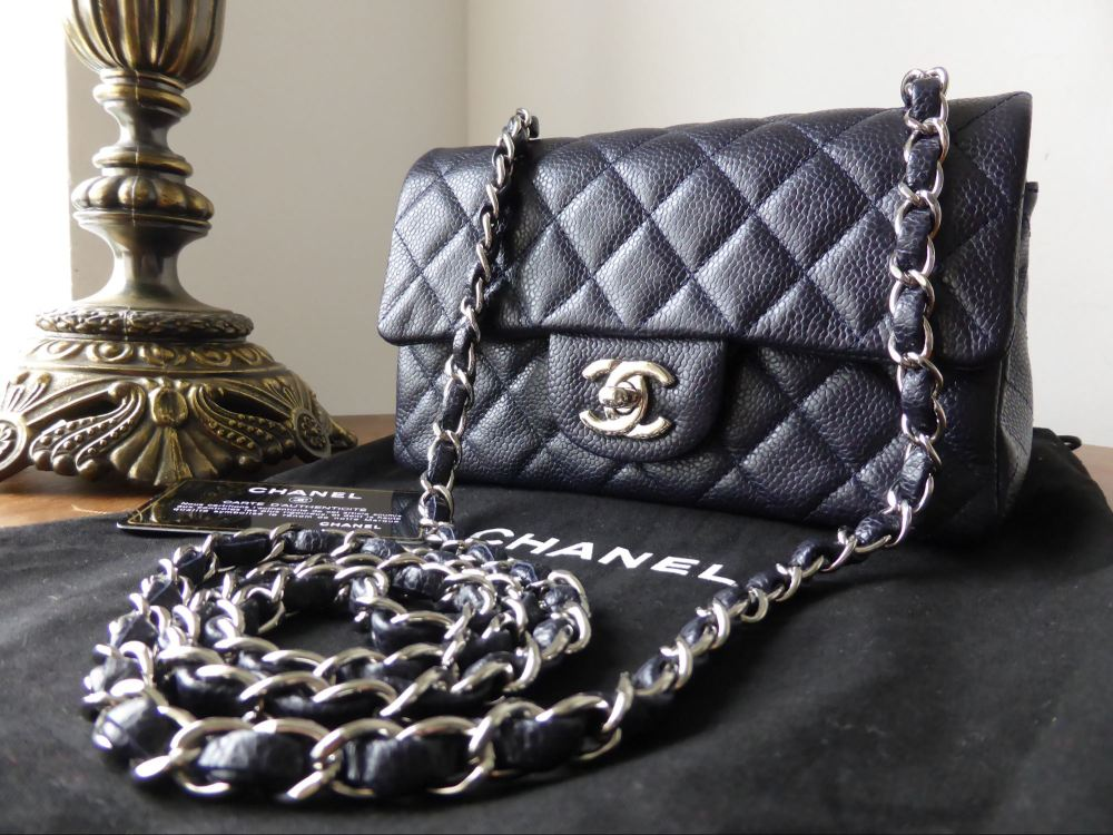 Chanel Classic Mini Flap Bag in Navy Caviar with Silver Hardware