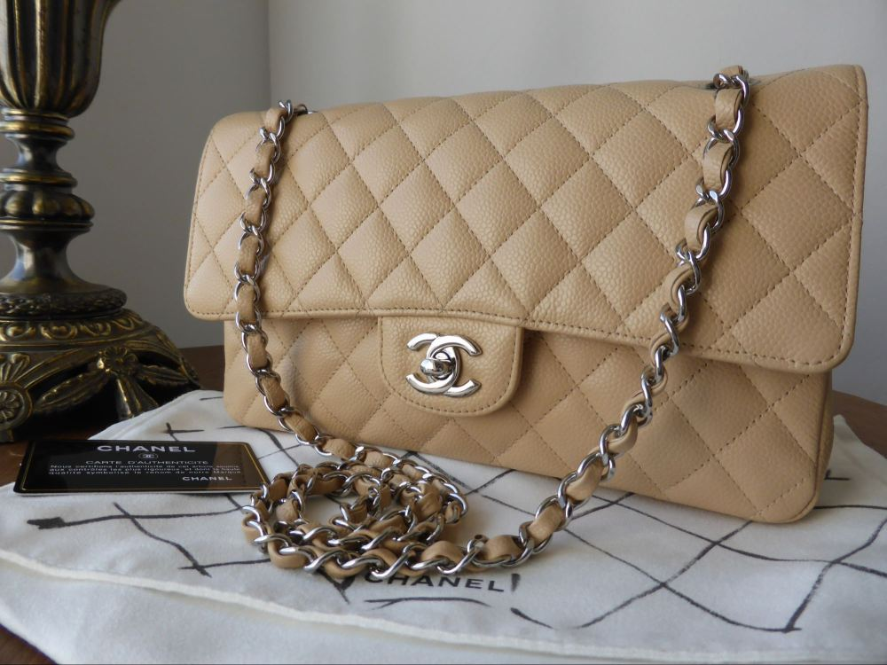 Chanel Classic 2.55 Medium Flap in Beige Caviar with Silver Hardware