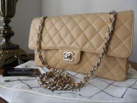 800c81e3e481 Chanel Classic 2.55 Medium Flap in Beige Caviar with Silver Hardware - SOLD