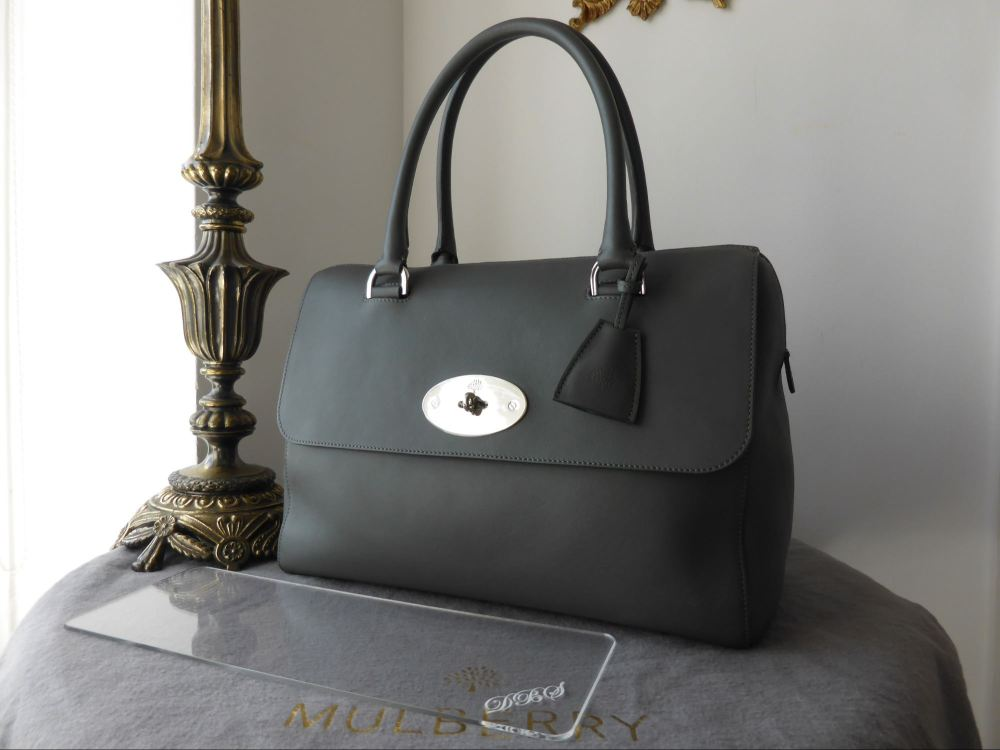 Mulberry Del Rey in Pavement Grey Silky Classic Calf - New