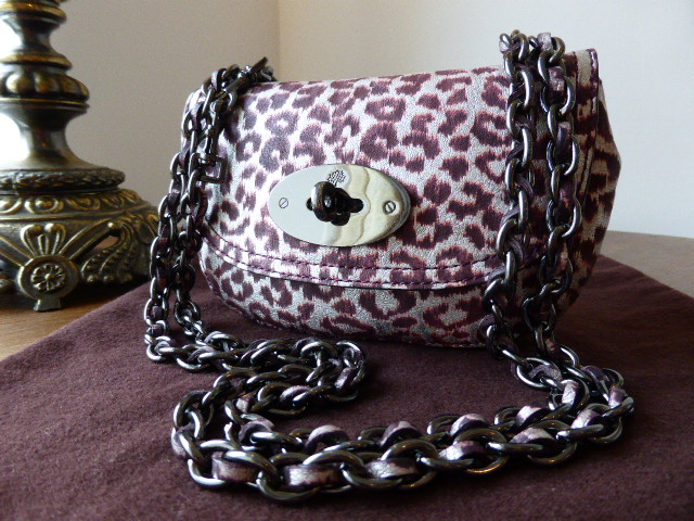 Mulberry Bayswater Belt Bag in English Plum Reverse Metallic Leopard Print