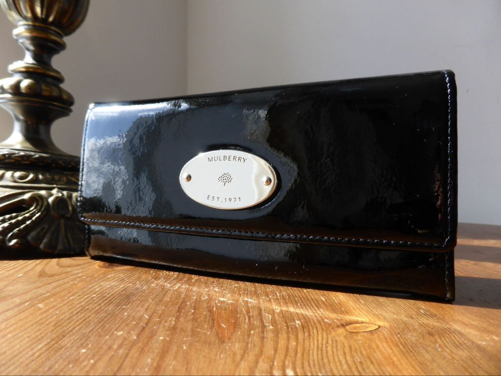 Mulberry Continental Wallet in Black Drummed Patent Leather