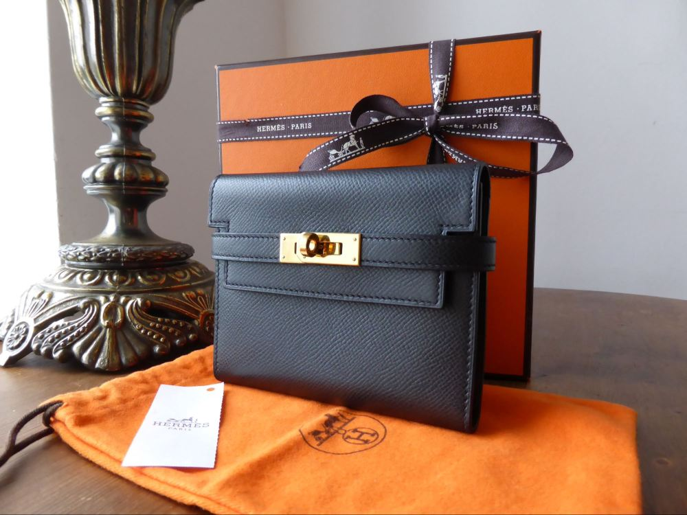 Hermés Kelly Portfeuille Compact Purse Black Veau Epsom Leather with Gold H