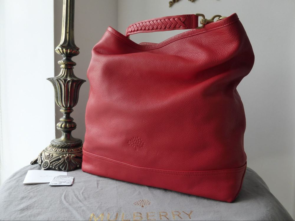 Mulberry Effie Hobo in Bright Red Spongy Pebbled Leather - New*