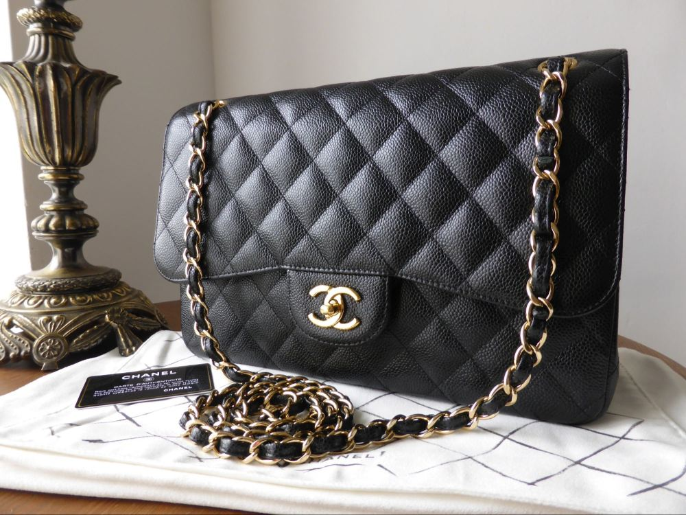 Chanel Timeless Classic 2.55 Jumbo Flap Bag in Black Caviar with Gold Hardw