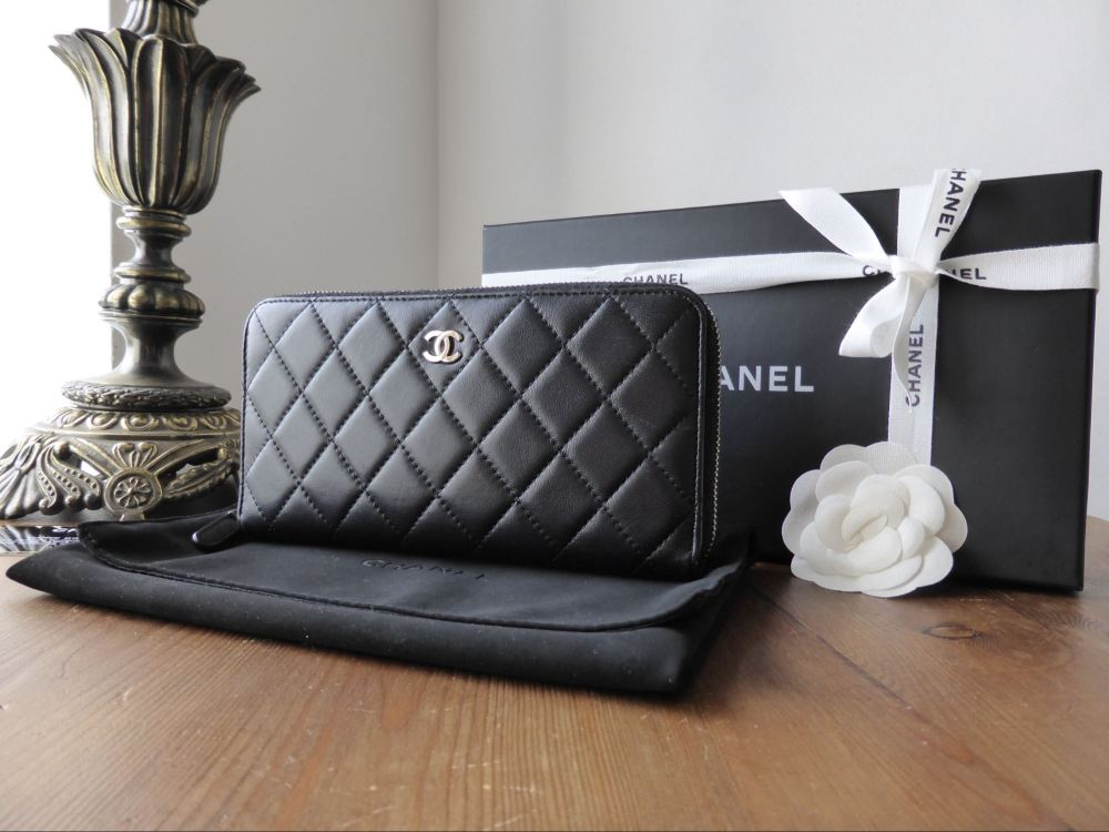Chanel Zip Around Continental Wallet in Black Quilted Lambskin with Silver
