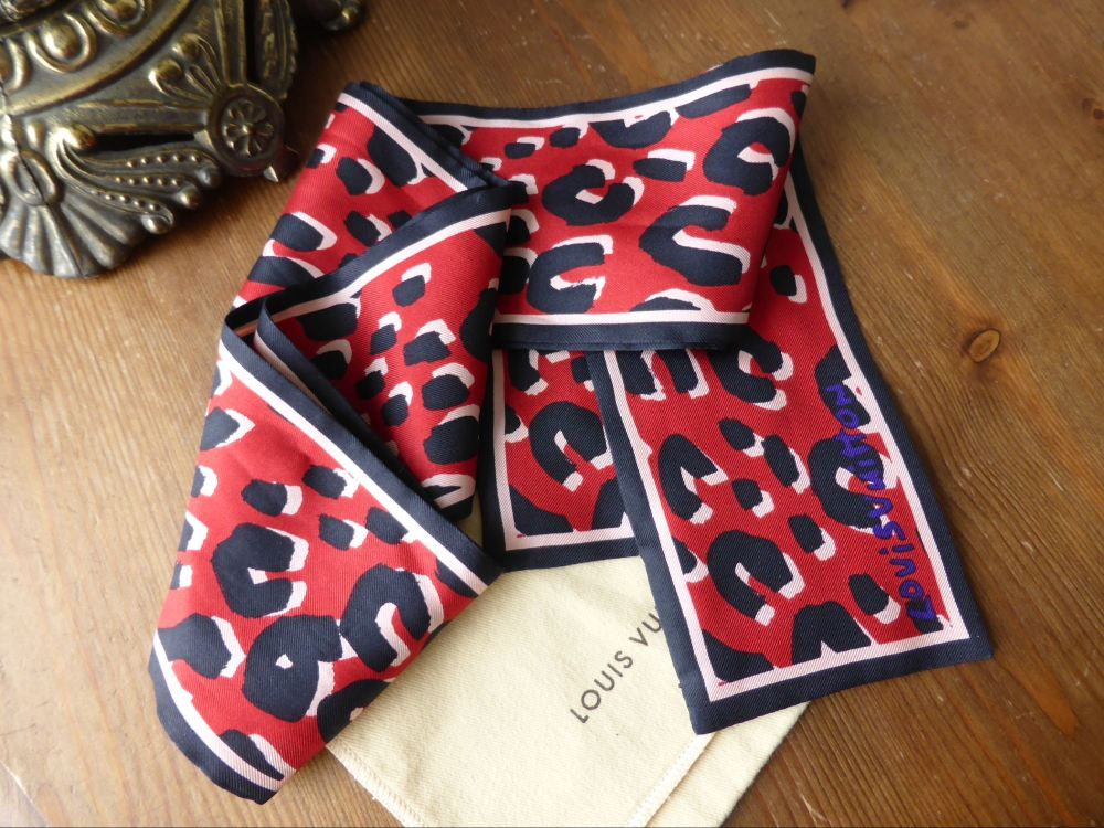 Louis Vuitton Stephen Sprouse Leopard Bandeau Red Silk Scarf
