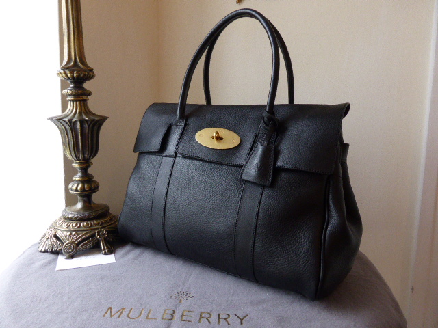 Mulberry Bayswater in Black Natural Leather with Soft Gold Hardware - New