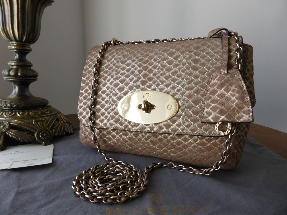 Mulberry Lily (Regular) in Pinky Mink Metallic Snake Suede